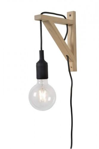 Nástěnné světlo FIXI WOOD černý kabel