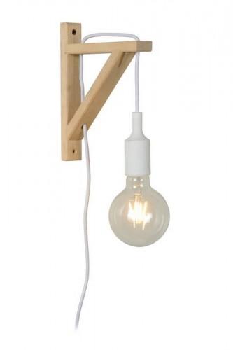 Nástěnné svítidlo FIXI WOOD bílý kabel E27