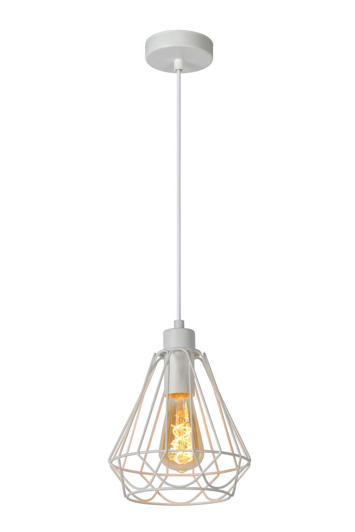 Ročník závěsná lampa KYARA Ø 20 cm bílá