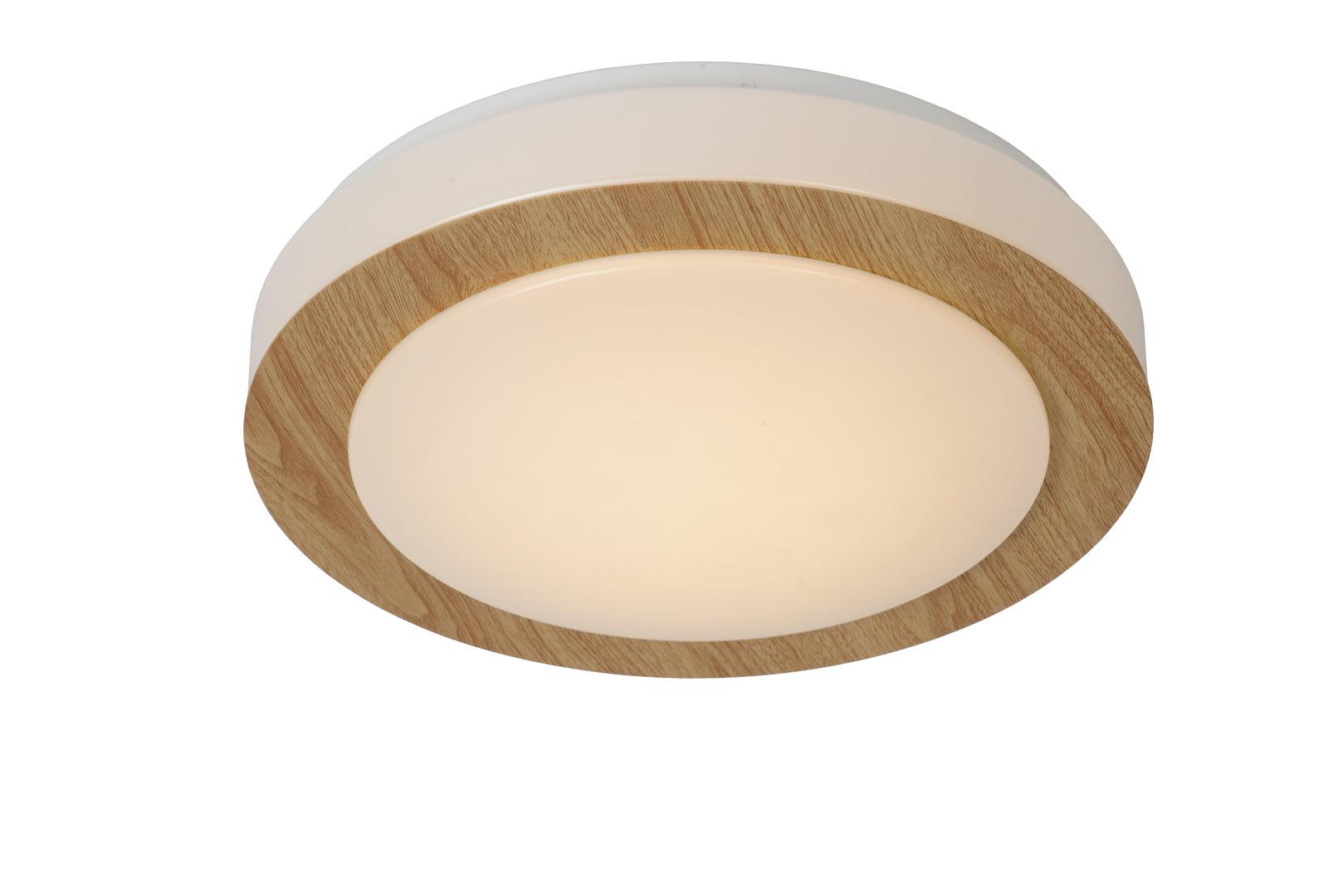Světlá dřevěná očka strop stropní LED 28,6 cm