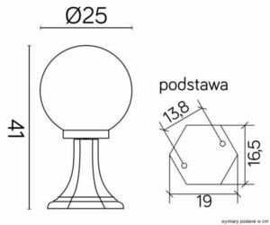 Zahradní latarenka s 1-bodovou kuličkou (41cm) - K 4011/1 / K 250 small 2