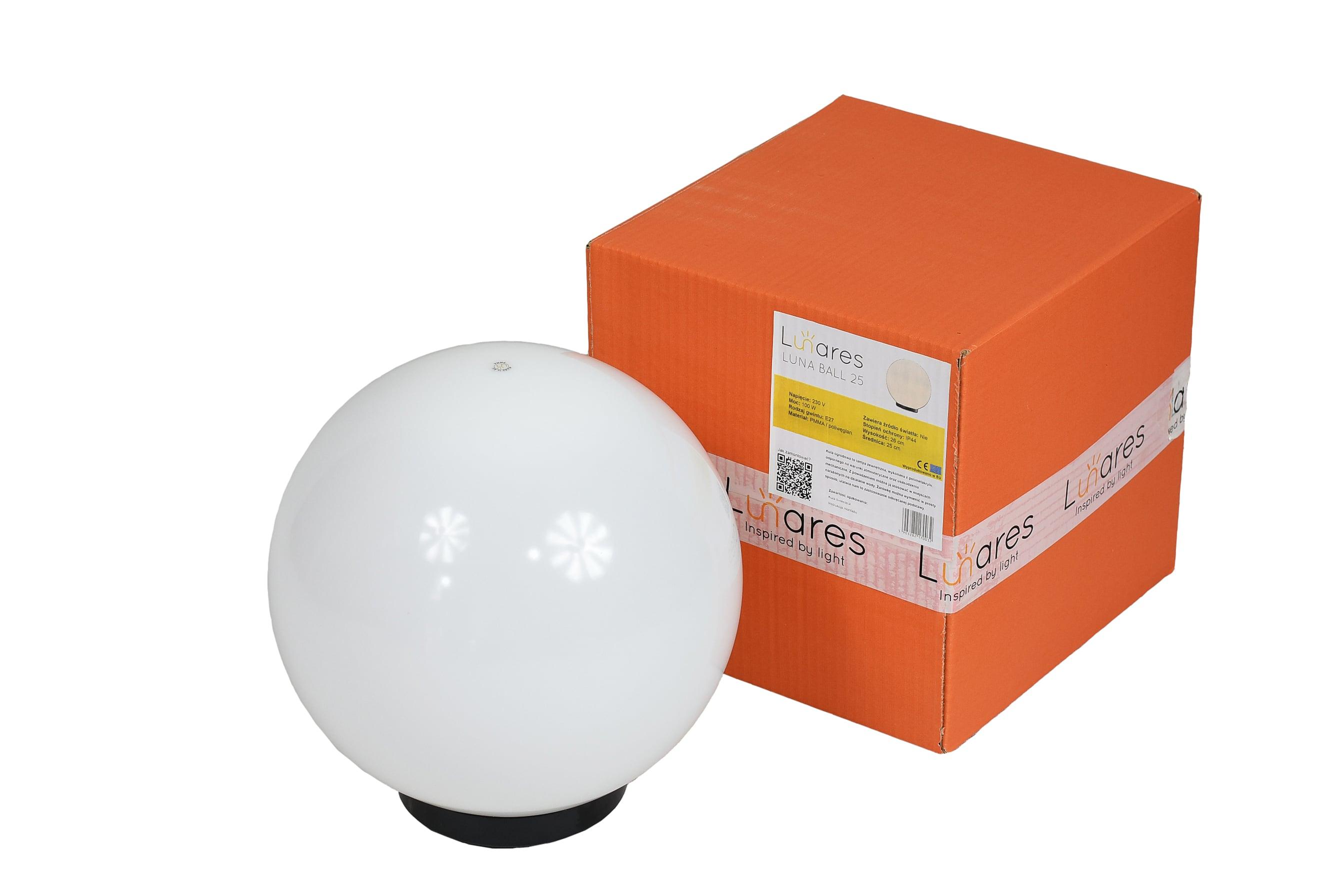 Zahradní lampa Luna ball 25 cm, zahradní koule, lesklý míč, osvětlení cesty, klasický styl, bílá s leskem