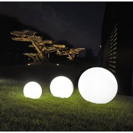 Zářící zahradní koule, kulička Luna 40 cm, osvětlení cesty, bílá, lesklá small 1