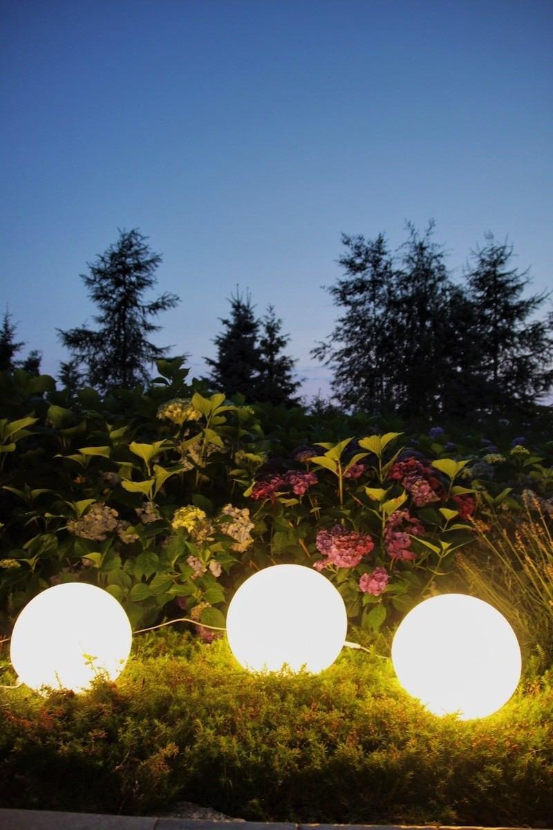 Sada zahradních míčků v květinách