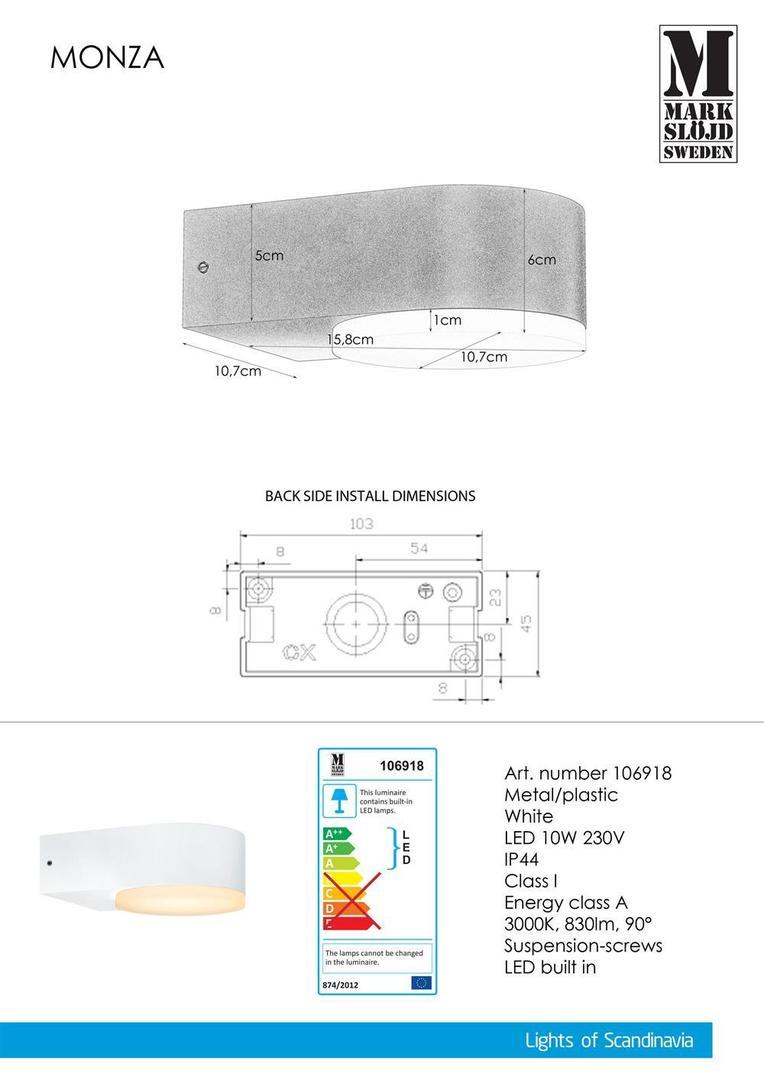 MONZA Nástěnná lampa 1L bílá
