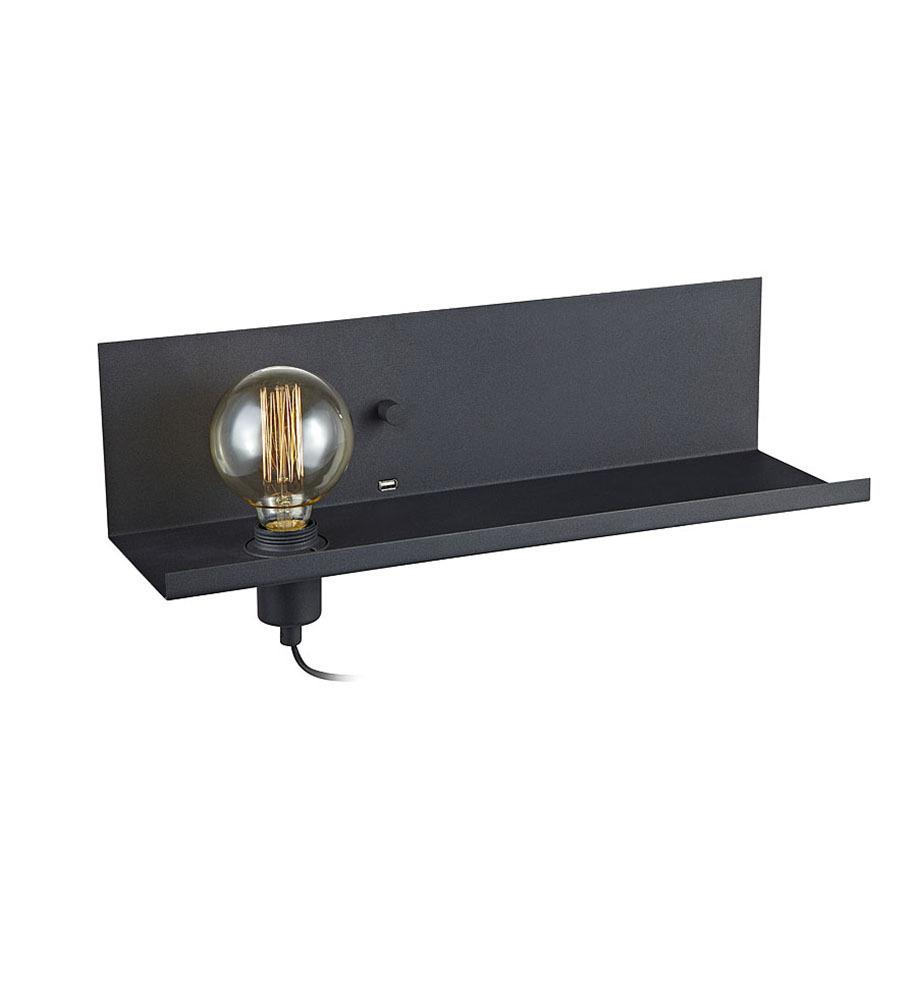 MULTI Nástěnné svítidlo USB 1L Black