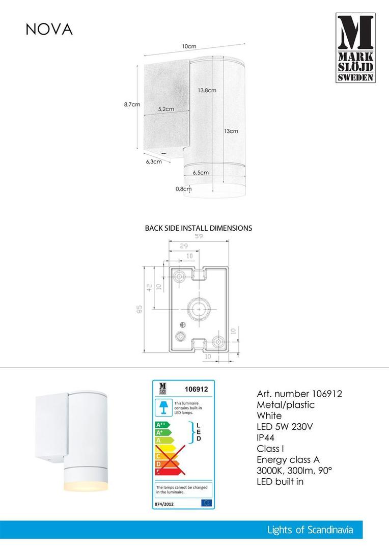 NOVA Nástěnná lampa 1L bílá