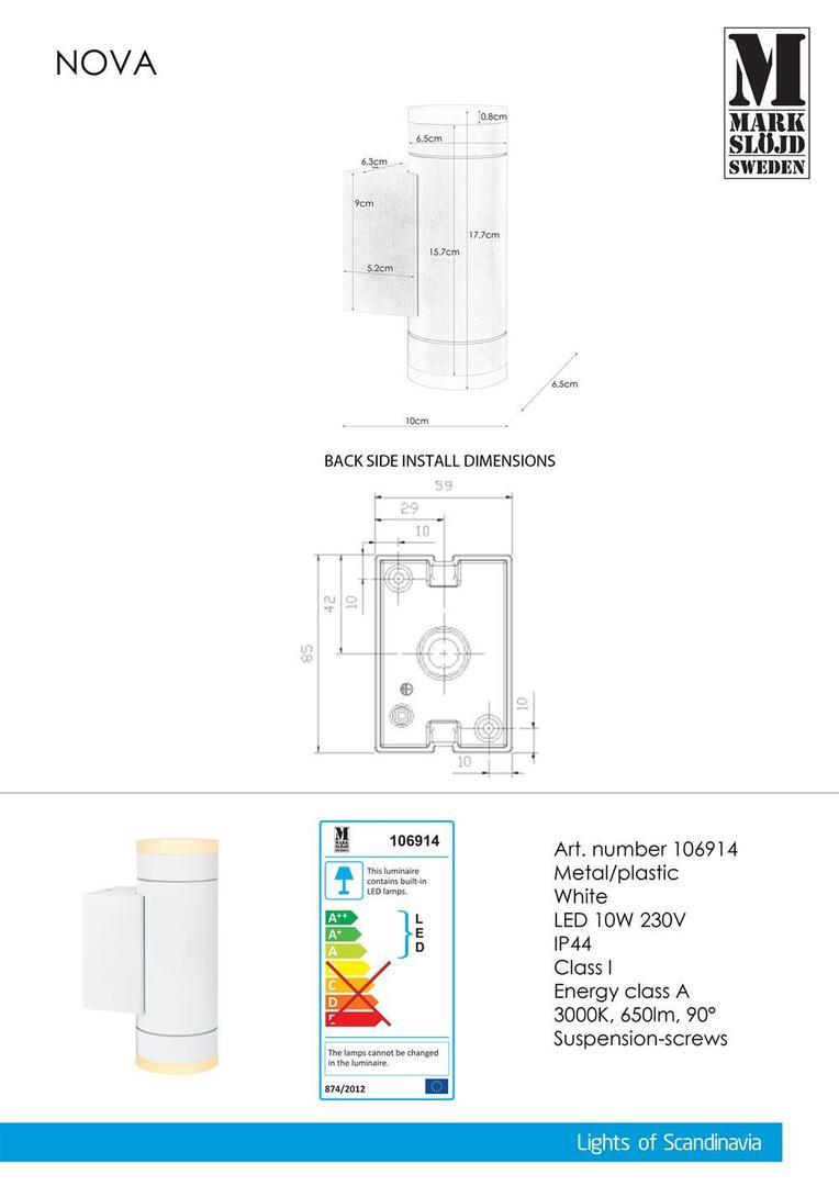 NOVA Nástěnná lampa 2L bílá