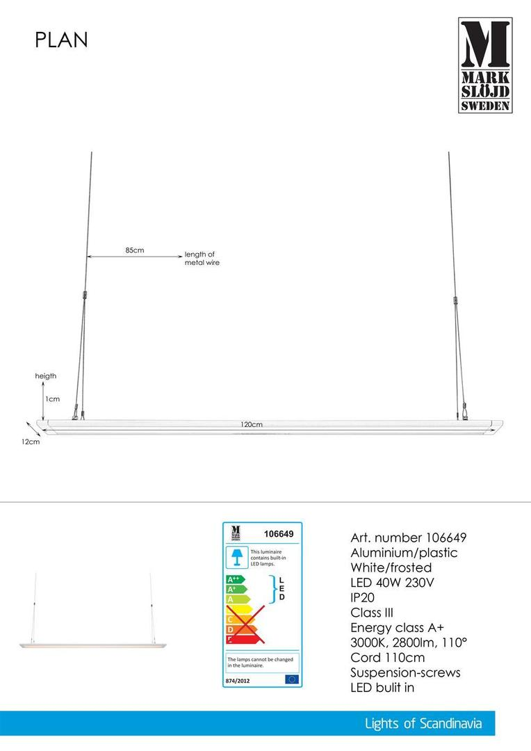PLAN 120cm 40W Bílý panel