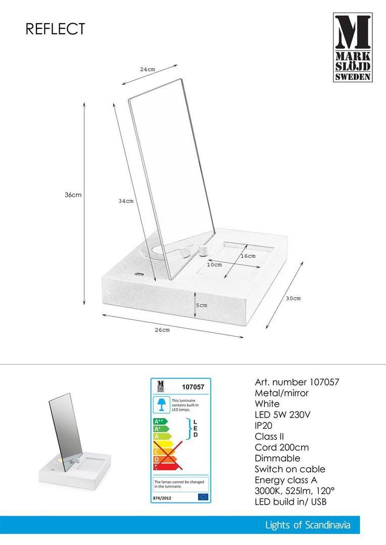 REFLECT Tabulka 1L USB bílé zrcadlo