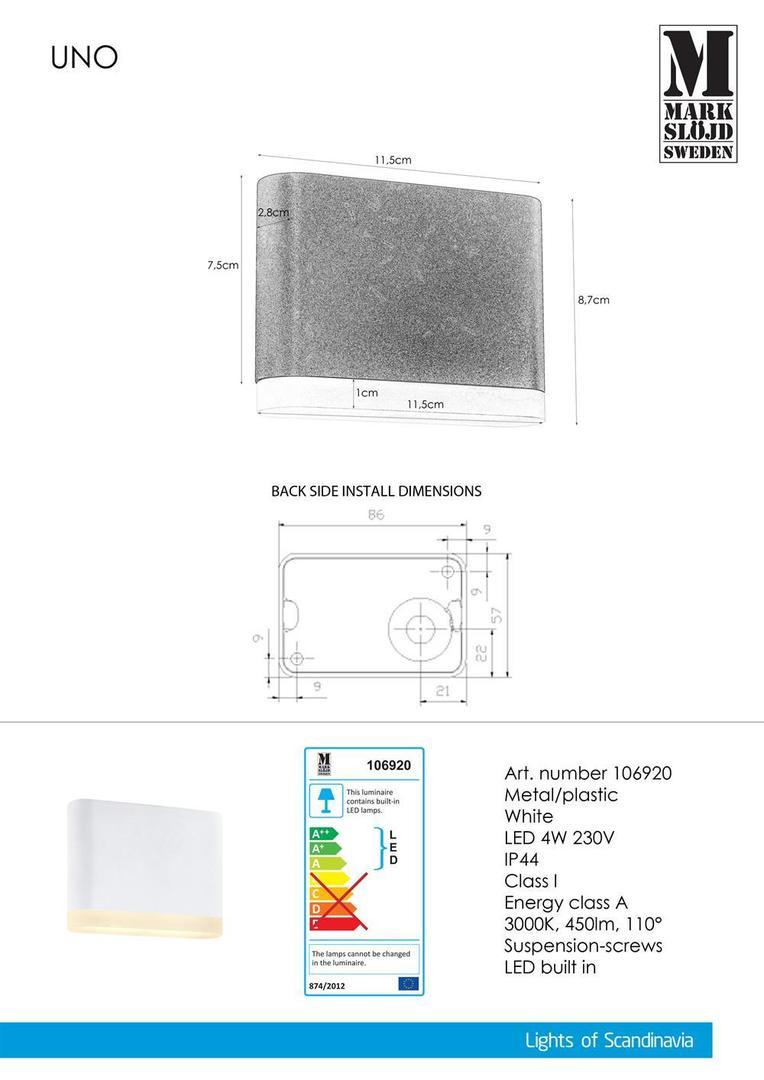 Vnější nástěnná lampa UNO 1L bílá