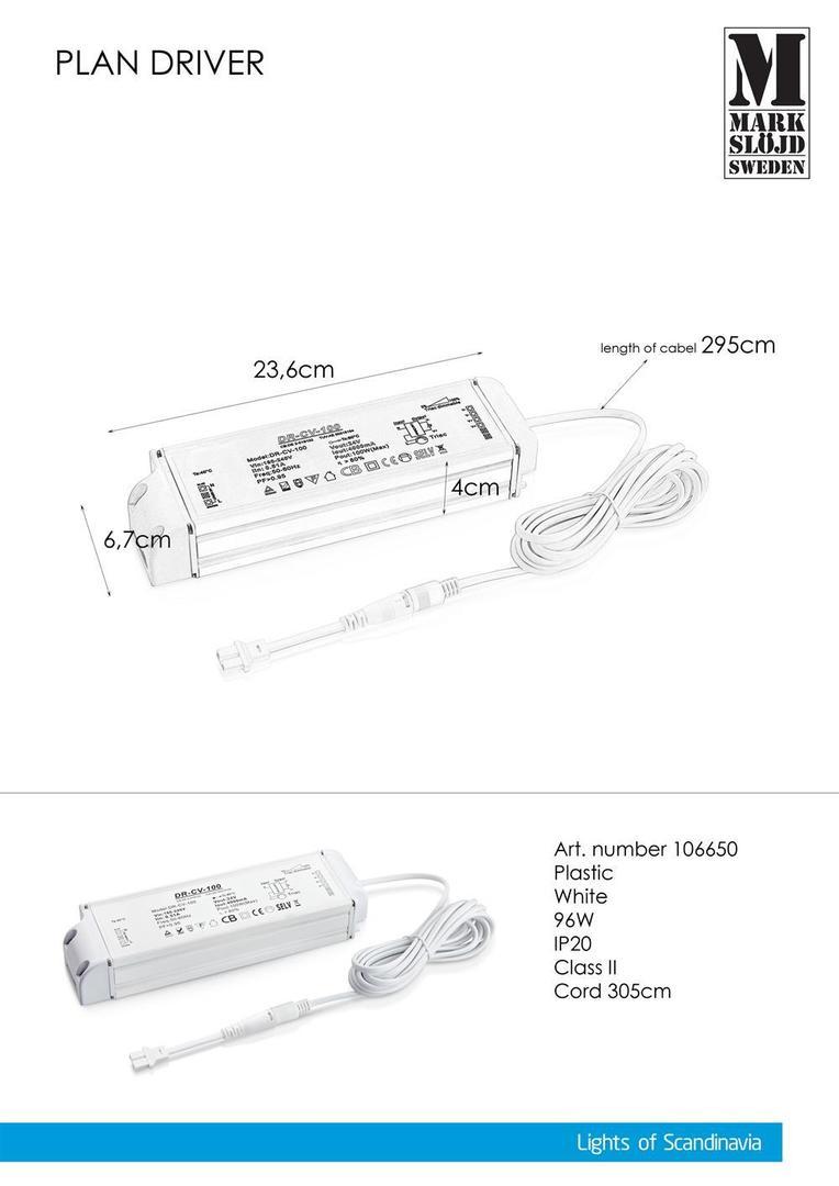 96W AC adaptér (pro PLAN) Bílá