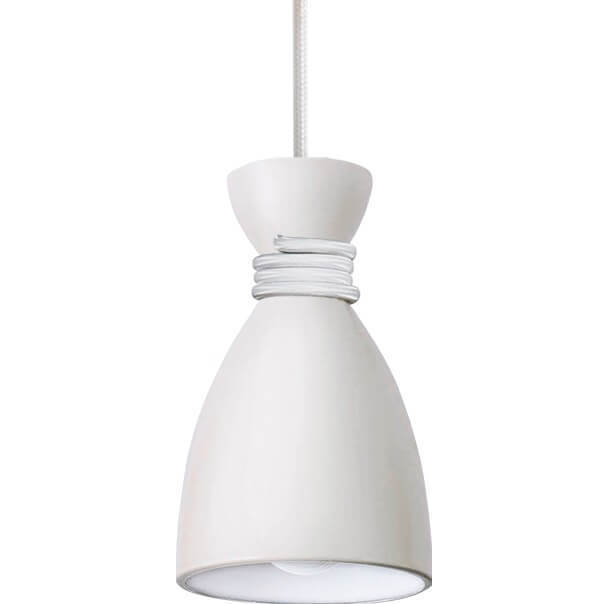 Bílé kovové přívěsek lampa Vivian