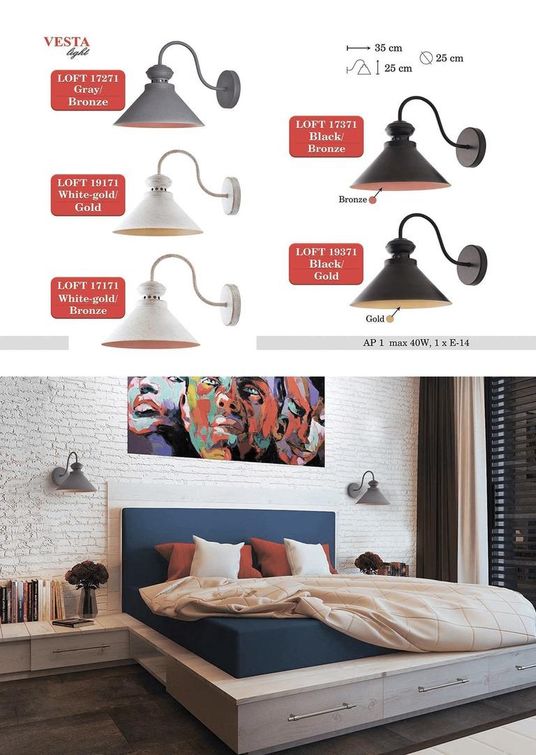 Černá a hnědá kovová Ethel nástěnná lampa