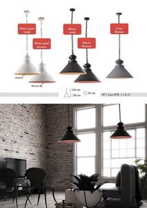 Černá a hnědá kovová přívěsek lampa Doreen small 0