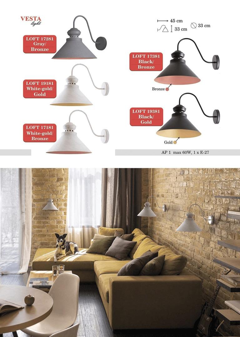 Bílé a zlaté kovové Leopard nástěnná lampa