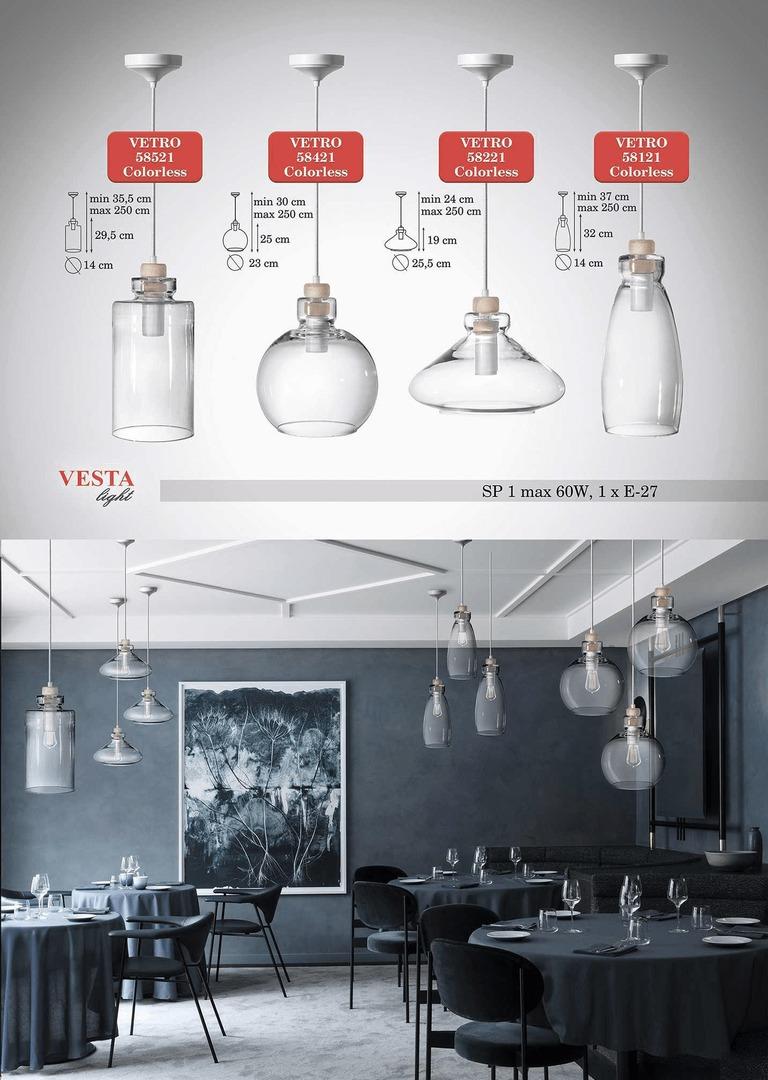 Průhledná skleněná lampa Ira Pendant