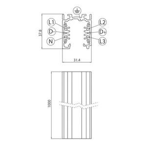 Přípojnice EUROSTANDARD PLUS, délka 100 cm (EN5) šedá small 1