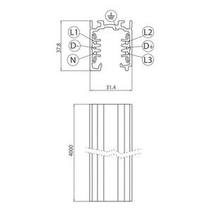 Přípojnice EUROSTANDARD PLUS, 400 cm dlouhý (EN5) hliník small 1