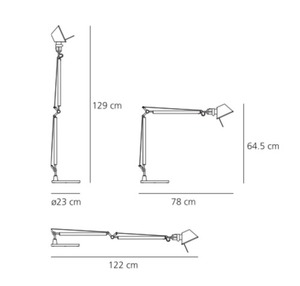 Stolní lampa Artemide Tolomeo Aluminium A001000 + A004030 small 2