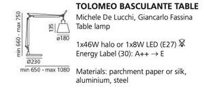 Stolní lampa Artemide BASCULANTE (pergamenové stínítko) \ t small 1