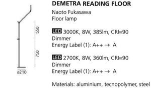 Stojací lampa pro čtení Artemide DEMETRA Antracyt 3000K / 2700K small 1