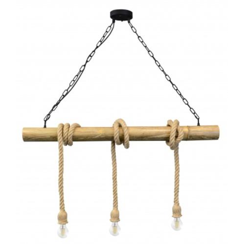Lampa wisząca loft Bambo Ramboo lniany sznur