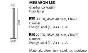 Stojací lampa Artemide MEGARON stříbrná 3000K / 2700K small 1