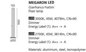 Stojací lampa Artemide MEGARON černá 3000K / 2700K small 1