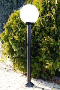 Zahradní lampa stojící Měsíční lampa bílá 30 cm E27 černý sloupek 100 cm small 1