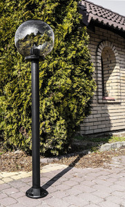 Zahradní lampa stojící Měsíční lampa uzená 50 cm E27 černá sloupek 100 cm small 2
