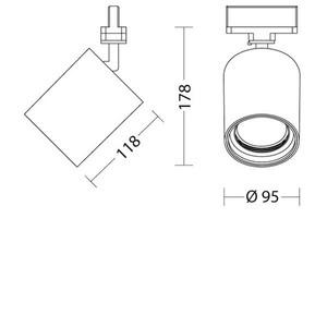 SAM 230 Quattrobot hliníkový reflektor 10W 3000K CRI 84 kompatibilní s přípojnicemi značky Stucchi small 1