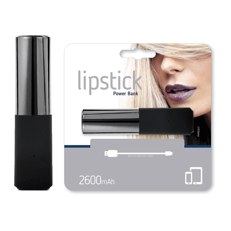 Power Bank Lipstik 2600mAh stříbrná / černá