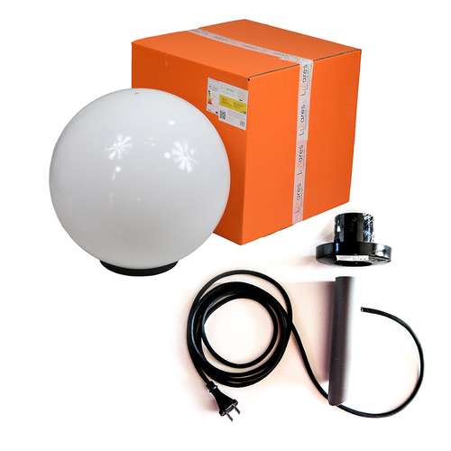 Dekorativní bílý míček - Luna Ball 50 cm s montážní sadou, 3m kabel, upevňovací sloupek
