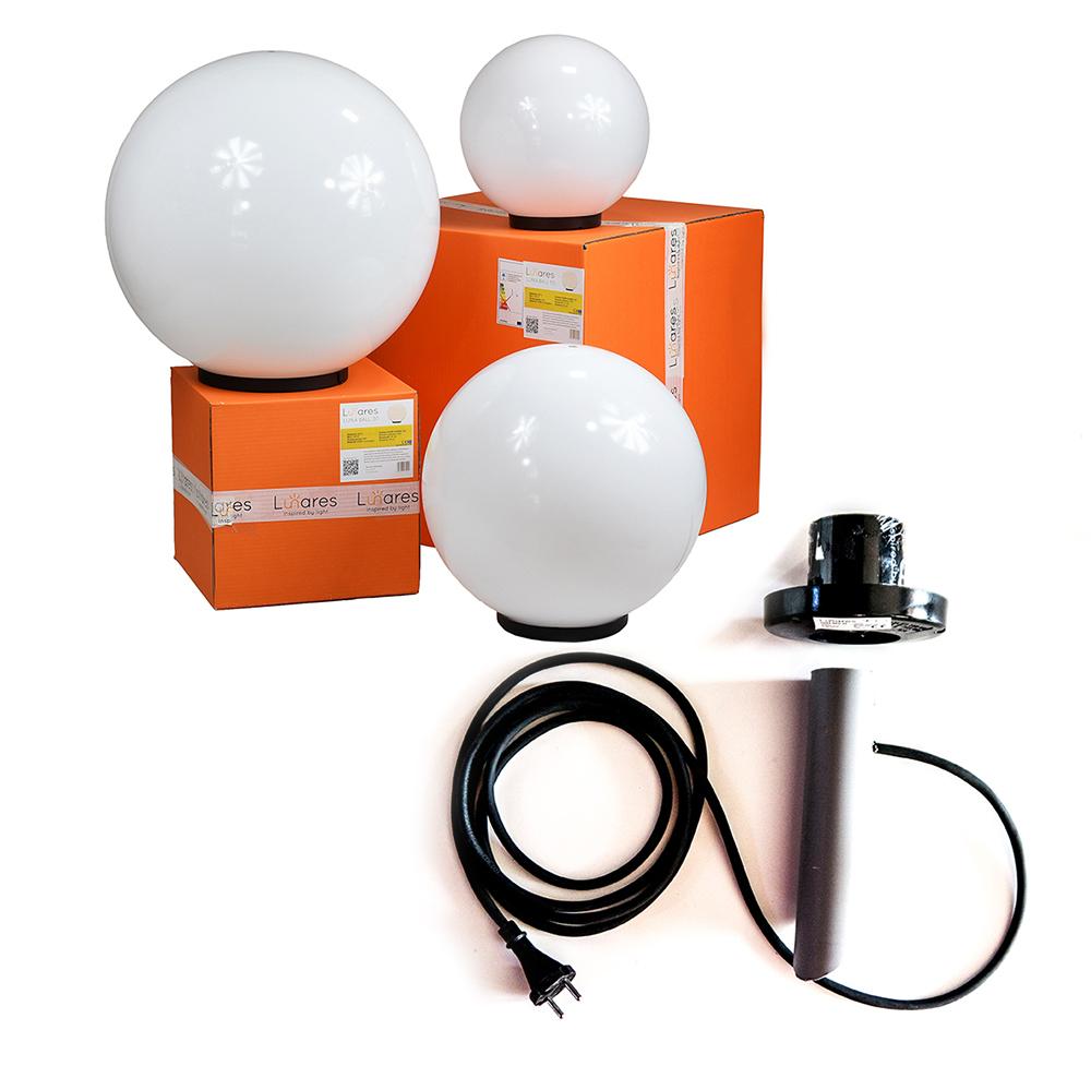 Sada ozdobných kuliček - Luna Ball 20, 30, 40 cm s montážní sadou, 3m kabel, upevňovací sloupek