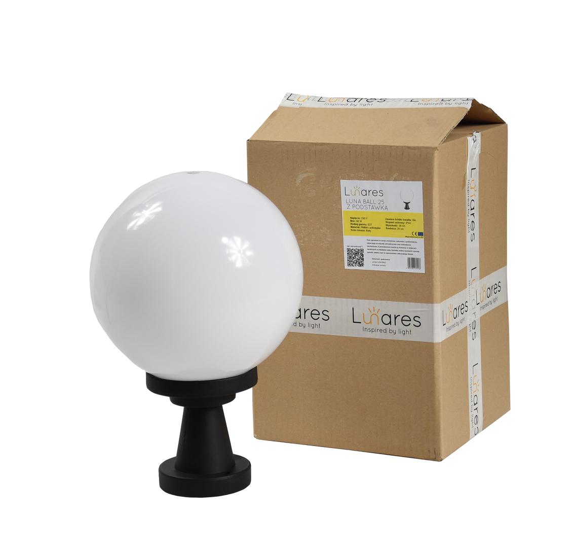 Zahradní lampa Luna Ball Plinto 20 cm E27 LED bílý podstavec