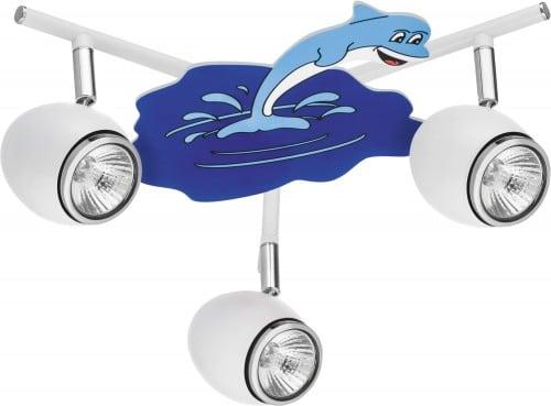 Lampa dla dziecka Delfin biały/ chrom LED GU10 3x4,5W