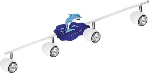 Lampa pro dítě Delfin bílá / chrom LED GU10 4x4,5W