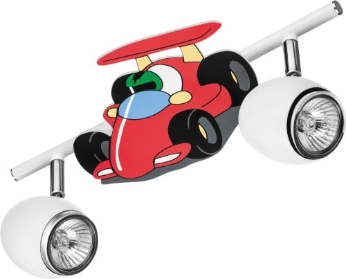 Lampa pro dítě Auto závodní auto - Auto bílá / chrom LED GU10 2x4,5W