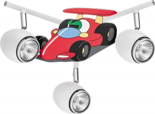 Lampa pro dítě Auto závodní auto - Auto bílá / chrom LED GU10 3x4,5W
