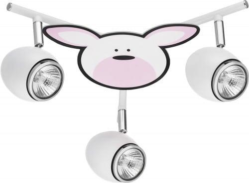 Lampa pro dítě Królik - Rubby biały / chrom LED GU10 3x4,5W
