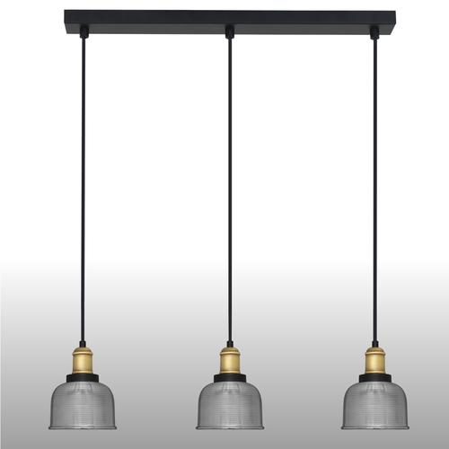 Stříbrná závěsná lampa Omida 3 proužek