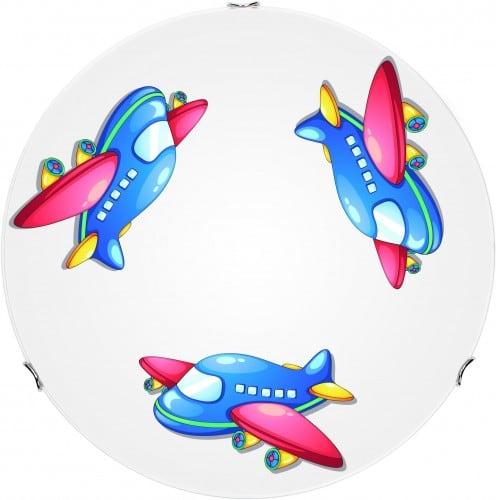 Lampa pro dětské letadlo - stropní svítidlo bílé / chrom 60W E27 30cm