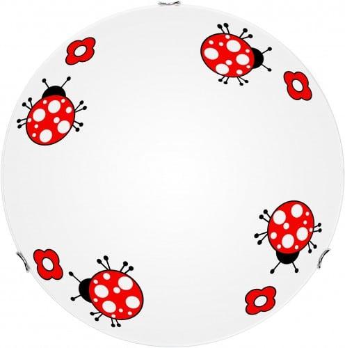 Lampa dla dziecka Biedronka - plafon Fly biały/ czerwony 60W E27 30cm