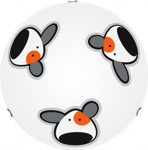 Lampa pro dítě. Piesek - plafond Doggy biały / chrom 60W E27 30cm