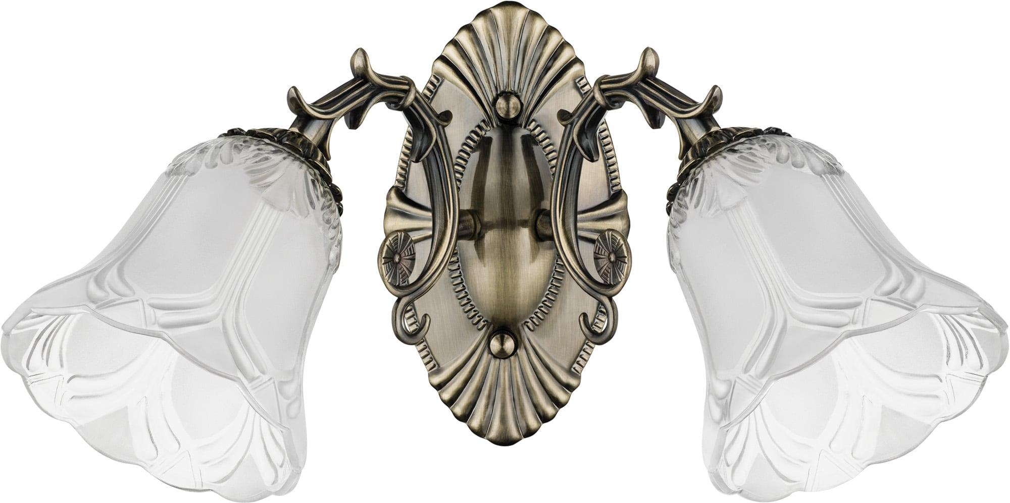 Dvojitá nástěnná lampa Clotilde patina / bílá E27 60W