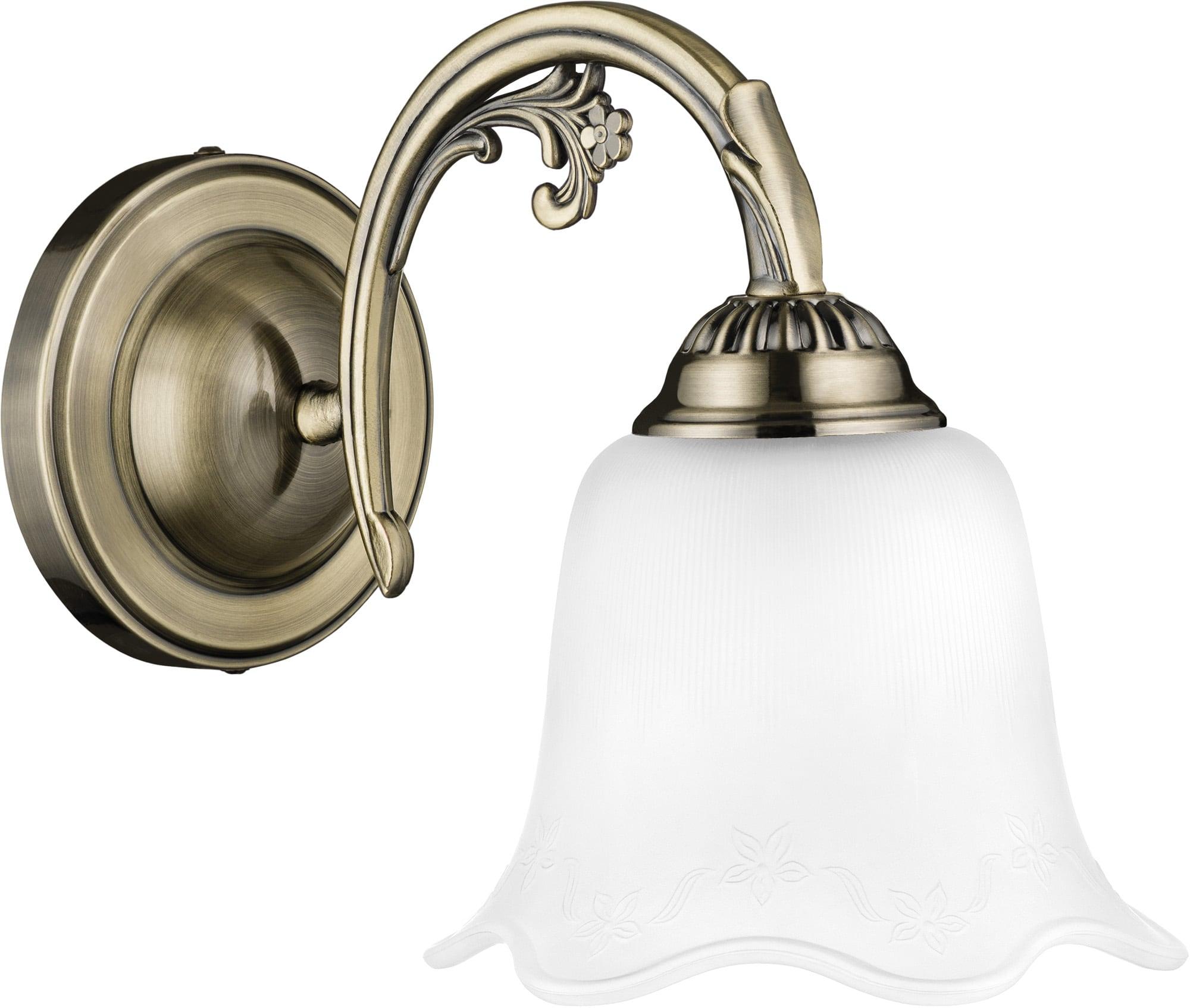 Klasická patinová nástěnná lampa Dolores patina / bílá E27 60W