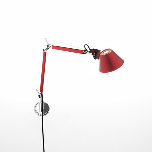 Nástěnná lampa Artemide Tolomeo Micro Wall červená A010910 + A025150