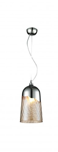 Moderní závěsná lampa Daga Klosz- chrom / transparentní E27 60W