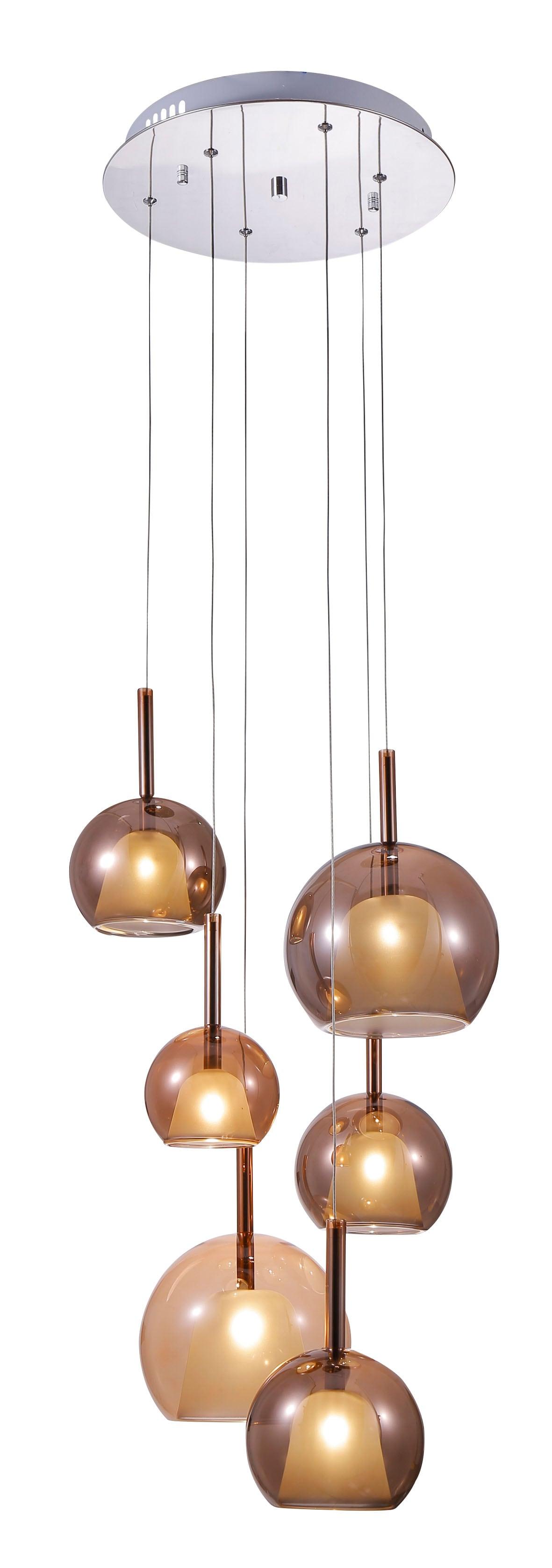Šestibodová závěsná lampa Bellezia chrom / měď G4 20W